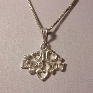 """Sterling Silver I Love You Pendant Necklace 18"""" L"""
